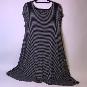 Pinc White & Dark Gray Striped Plus Size Dress